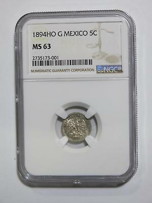 Mexico 1894 Ho G 5 Centavos Ngc Ms63 Toned Silver Old World Coin Collection Lot