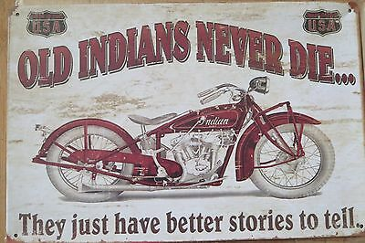 IMS4 Indian  Motorcycle Metal Sign New 20 cm H X 30 cm W