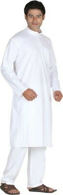 White Cotton Mens Kurta Pajama Indian Ethnic Style Long Kurta Pajama Set