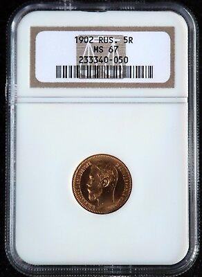 1902 AP RUSSIA 5 ROUBLES MS 67  Certified by NGC Gold Coin