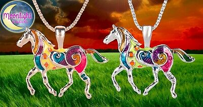 New Horse Colorful Enameled Silver Gold Womens Pendant Necklace