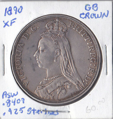 1890 Great Britain Crown XF Sterling Silver