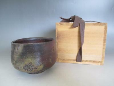 Japanese Bizen ware tea bowl w/box by famous Masami Nishikawa/ 7241