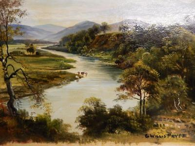 really old PAINTING oil landscape RIVER signed G Willis Pryce