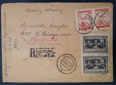 SCARCE 1947 Poland Registd Cover ties 4 stamps canc Szamotuły to Chicago