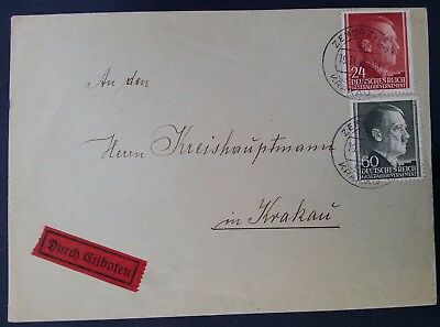SCARCE 1942 Poland (General Govt) Courier Cover ties 2 Fuhrer stamps Zembrzyce