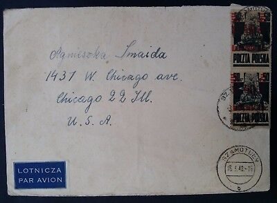 RARE 1948 Poland Airmail Cover ties 2x 40 Zl stamps with Airmail  O/P  Szamotuly
