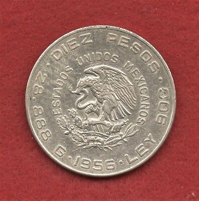 1956 Mexico Mo 10 Diez Pesos Silver Hidalgo Coin With Mint Luster