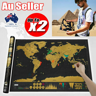 X2 Scratch Off Map World Deluxe Large Personalized Travel Poster Travel Atlas