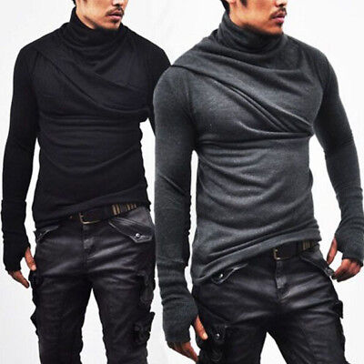 Fashion Men's Slim Fit Irregular Long Sleeve Muscle Tee T-shirt Tops Blouse