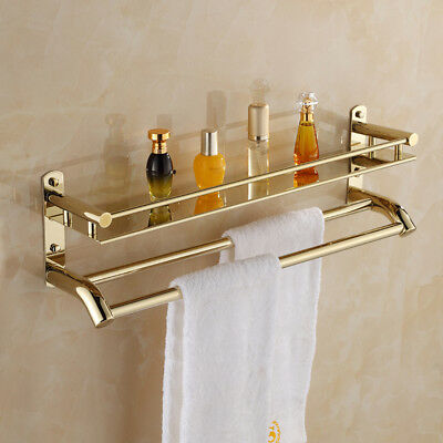 Wall Mounted Bathroom Shower Towel Rail Rack Holder Storage Shelf Kitchen Caddy