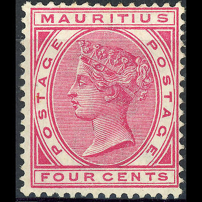 MAURITIUS 1883-94 4c Carmine. Wmk Crown CA. SG 105. Lightly Hinged Mint. (AR167)