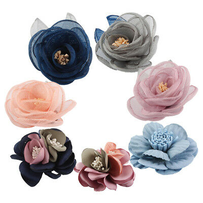 5Pcs DIY Baby Kids Fabric Flower Hair for Headband Hair Clip Wedding Decor