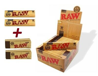Genuine RAW Rolling Papers King Size Slim Classic Unrefined Skin+RAW TIPS RwC+Tp