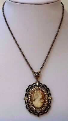 """Stunning Vintage Estate High End Carved Shell Cameo 16"""" Necklace!!! 7987T"""