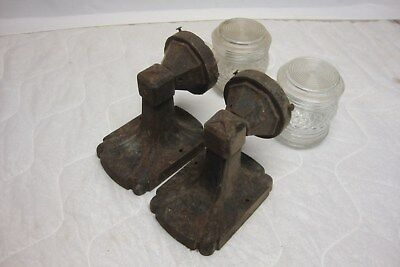 Antique Pair Cast Iron Arts Crafts Mission Gothic Sconce Lights # 1 of 40