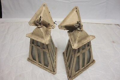 Antique Pair Cast Iron Arts Crafts Mission Gothic Sconce Lights # 2 of 40
