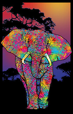 Elephant Painted - Blacklight Poster - 23X35 Flocked 19882