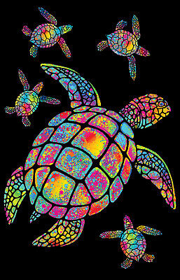 Turtles Painted - Blacklight Poster - 23X35 Flocked 19892