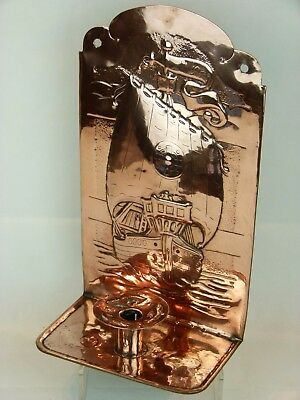 "A Fine and Rare Arts & Crafts Newlyn School Copper ""Galleon"" Wall Sconce."