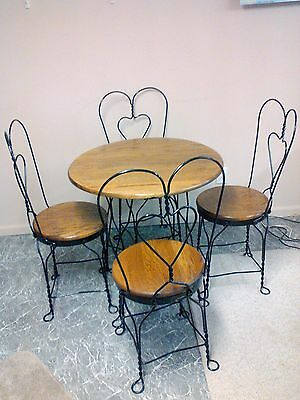 L@@k Vintage Antique Ice Cream Parlor Set Wrought Iron Oak Table And 4 Chairs