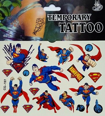 1x Superman Temporary Tattoo Sheet Children Kids Birthday Party Bag Filler