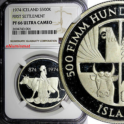 ICELAND Silver PROOF 1974 500 Kronur NGC PF66 ULTRA CAMEO 1st Settlement KM# 20