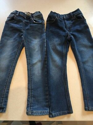 2x Boys Soft Jersey Denim Jeans From Next Age 4-5yrs Excellent Condition