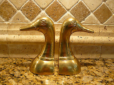 Classic Vintage Solid Brass Duck Head Book Ends Set of 2
