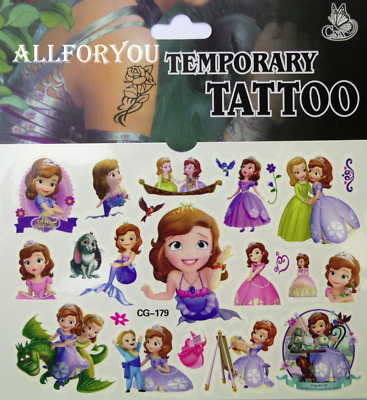 1x Sofia the First Temporary Tattoo Sheet Children Birthday Party Bag Filler