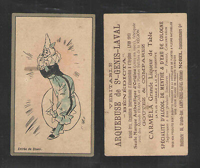 1880s ARQUEBUSE de ST GENIS LAVAL  ENTER THE CLOWN   FRENCH VICTORIAN TRADE CARD