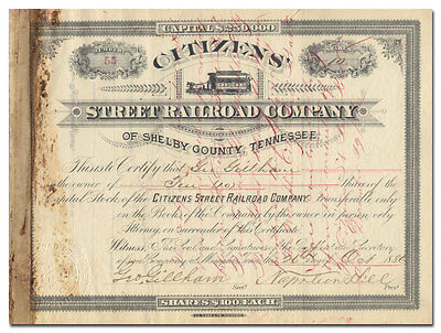 Citizens' Street Railroad Company Stock Certificate (Shelby County, Tennessee)
