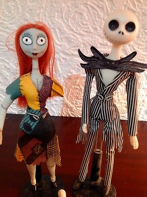 jack and Sally porcelain dolls in coffin box Nightmare before Christmas