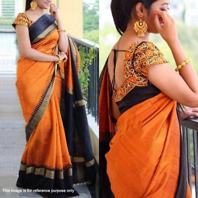 Indian bollywood bhagalpuri silk with embroidery blouse unstiched wedding saree