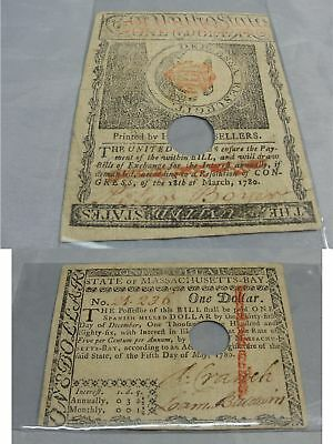 1780 U.s. Massachusetts Bay Colonial Currency $1 One Dollar Bill Hole Cancelled