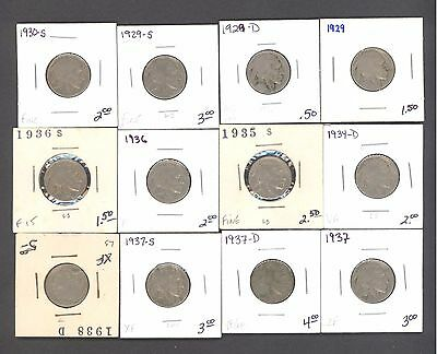 25 Different Buffalo Nickels 1938-1919 M-024