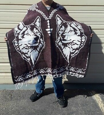 Mexican Poncho , Wild Wolf , Blanket Serape Gaban , One Size Fits All , Burgundy