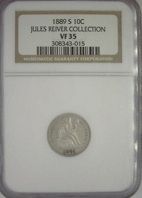 1889-S Seated Liberty Dime Ngc Vf35 - Jules Reiver Collection