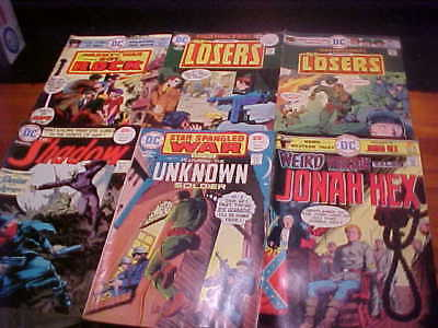 6 DC Comics, 1975, Our Army At War, Shadow, Weird Western, etc, FREE SHIP