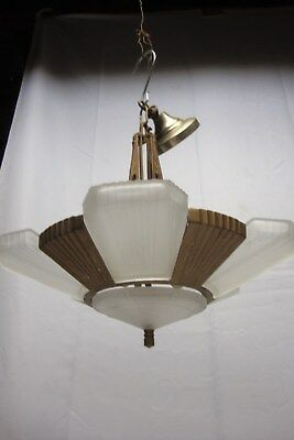 Antique Art Deco 5 Light Slip Shade Chandelier #28 of 40 1of2 Matching