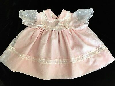 Vintage Girls Pink Sheer Dress with Swiss Dot Flocking SZ 18mos