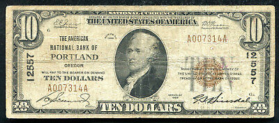 1929 $10 The American Nb Of Portland, Or National Currency Ch. #12557
