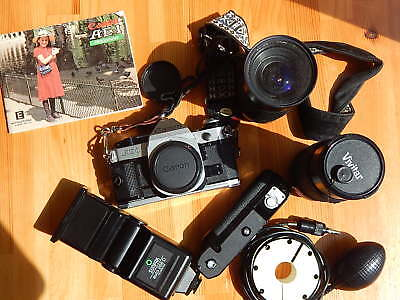 FILM TESTED Canon AE-1 Program SLR film camera - EXC+++ with extras