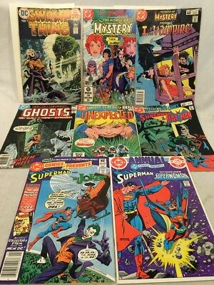 Vintage Bronze Age DC Comics Lot Of 8, Swamp Thing, Superman, House Of Mystery