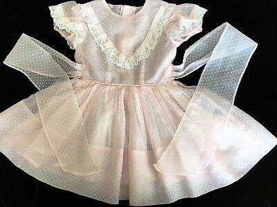 Vintage Girls Pink Sheer Dress with Swiss Dot Flocking circa 60's