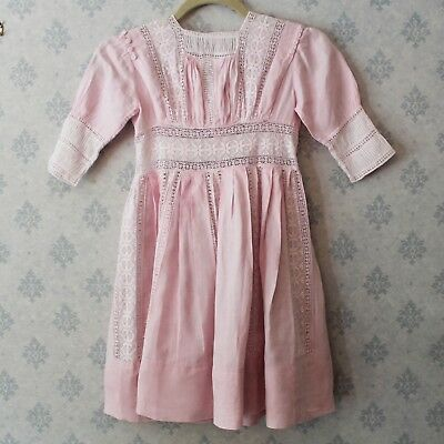 Vintage Edwardian to 1910s Style Pastel Pink Linen and Lace Girl's Dress