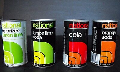 Lot of 4 National Soda Can National Tea Co Chicago Illinois Straight Steel Vtg