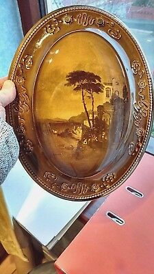 "Antique Ridgways Royal Vistas Ware Oval Hanging Plaque. ""Amalfi"". Good Condition"