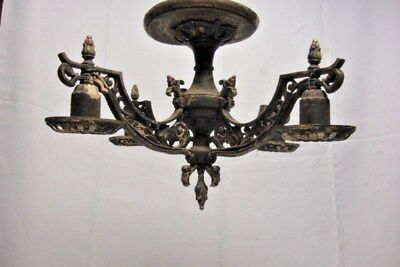 Antique Ornate Solid Brass Art Deco 4 Light Chandelier 31 of 40