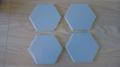 Lot 4 Vintage Light Blue Hexagon Ceramic Tile NOS Baby Blue Made in USA